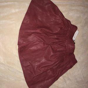 Light Maroon Leather Material Skirt